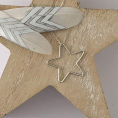Big thin star chain necklace silver 925