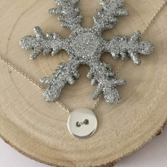Small button chain necklace silver 925