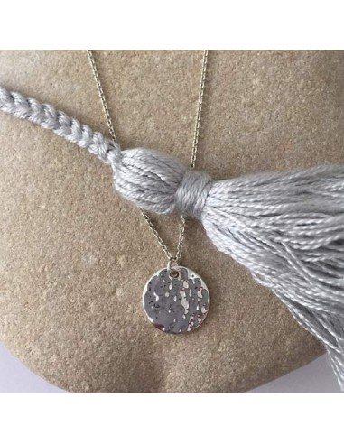 Small hammered medal chain necklace silver 925