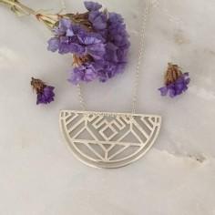 Baroque half moon chain necklace silver 925