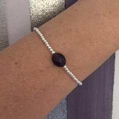 Bracelet silver 925 small beads oval faceted amethyst