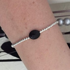 Bracelet silver 925 small beads oval faceted onyx