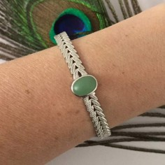 Laurel aventurine flat bangle bracelet silver 925