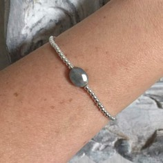 Bracelet silver 925 small beads oval faceted labradorite
