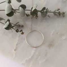 Small thin ring chain necklace silver 925