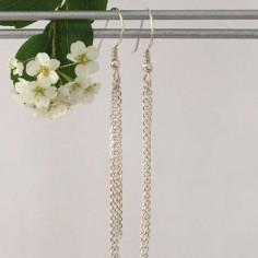 Triple chain earrings silver 925