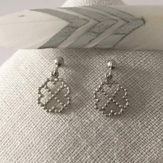 Small double open hearts earrings silver 925