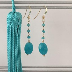 Blue jade stones earrings gold plated