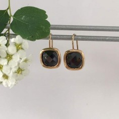 Black square stones earrings gold plated