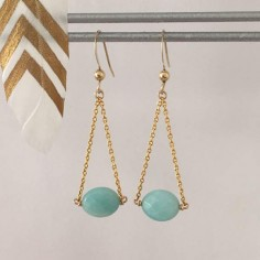 Oval faceted amazonite earrings gold plated chain