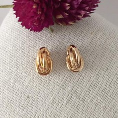 Three small rings earrings gold plated