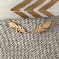 Feathers earcuffs gold plated