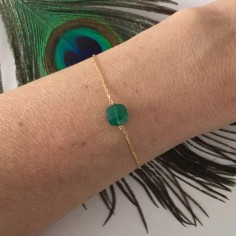 Chain bracelet gold plated small square green onyx