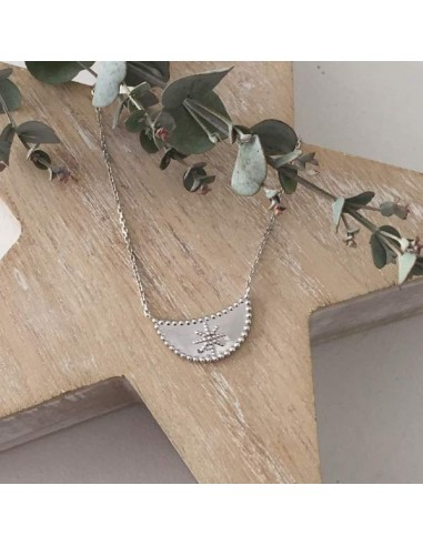 Half moon star chain necklace silver 925
