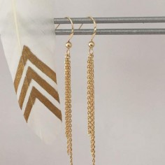 Triple chain earrings gold plated
