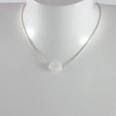 Collier chaine argent agathe blanche ovale facetée