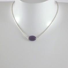 Collier chaine argent améthyste ovale facetée