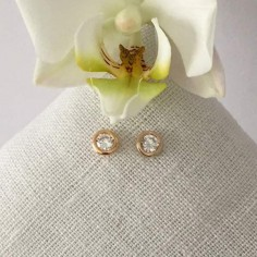 Zircons earrings gold plated