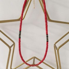 Heishi red and black stones necklace