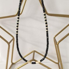 Heishi black stones necklace