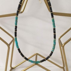 Heishi turquoise and black stones necklace 1