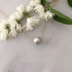 Grey baroque freshwater pearl chain necklace gold plated