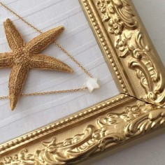 Small white mother of pearl star chain necklace gold plated