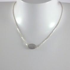 Collier chaine argent labradorite ovale facetée