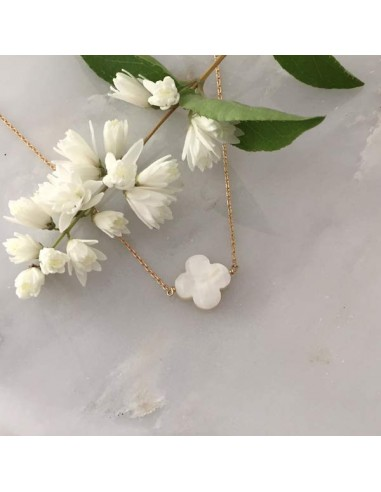 White mother of pearl cross chain necklace gold plated