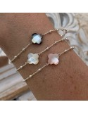 Small beads chain bracelet silver 925 white mother of pearl cross