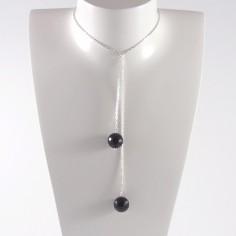 Collier chaine argent Cravate 2 pierres onyx facetées