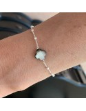 Small beads chain bracelet silver 925 grey mother of pearl cross