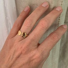 Hammered double pastille ring gold plated