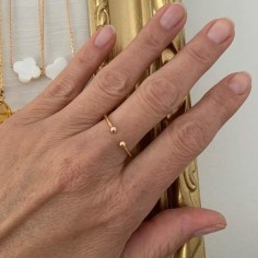 Double small beads ring gold plated