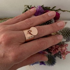 Hammered flat large ring pink gold plated medal