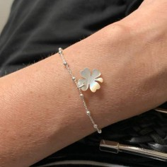 Small beads chain bracelet silver 925 white mother of pearl clover