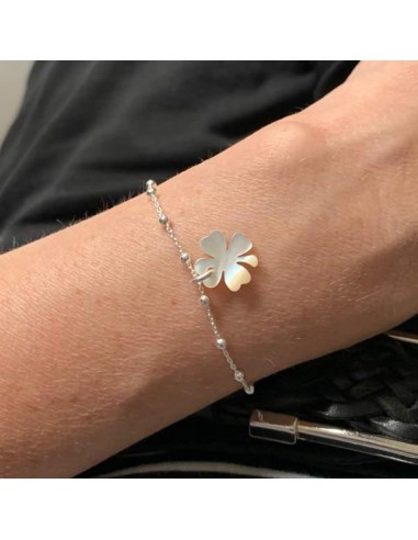 Small beads chain bracelet silver 925 pink mother of pearl cross