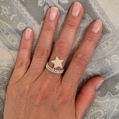 Two rows small beads ring silver 925 star medal