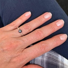 Small beads ring silver 925 small black freshwater pearl