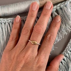 Small beads ring silver 925  gold plated cauri