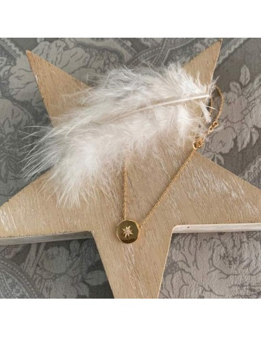 Chain necklace gold plated circled star zircon