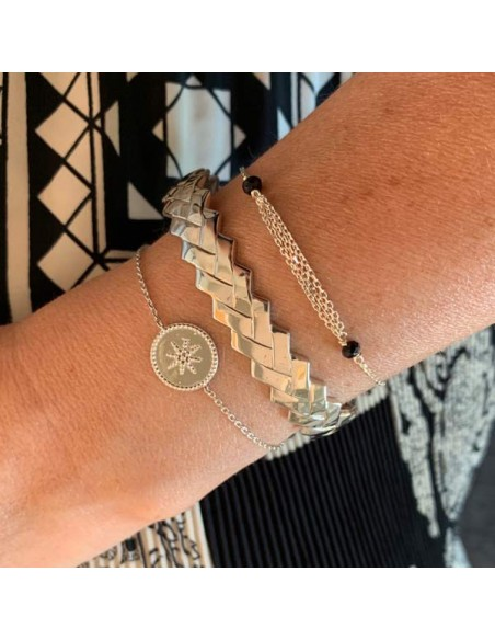 Chain bracelet silver 925 beads circled star
