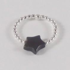 Bague minis perles argent Pierre semi - précieuse étoile onyx