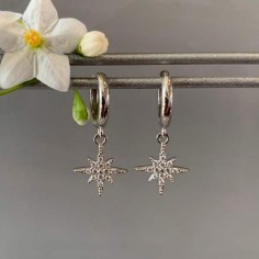 Small silver 925 hoop earrings with stars zircons