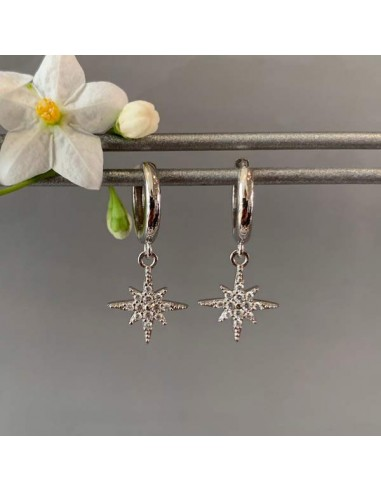 Small creole stars zircons earrings silver 925