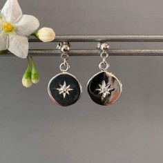Circled stars zircons earrings silver 925
