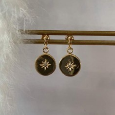 Circled stars zircons earrings gold plated