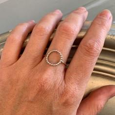 Beaded circle ring silver 925