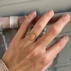 Bague plaqué or anneau perlé