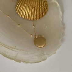 Beads medal gold plated small beads chain necklace